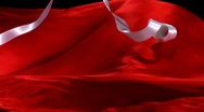 Red fabric and white ribbon, Slow Motion Stock Footage