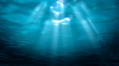 Underwater view of tropical sea looking up at the surface Stock Footage
