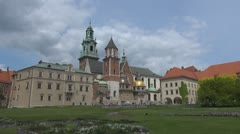 View Wawel Castle Kraków Poland landmark iconic place emblem tourism attraction Stock Footage