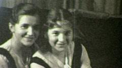 Pretty Teenage Girls Portrait Sisters Smiling 1930s Vintage Film Home Movie 1472 Stock Footage