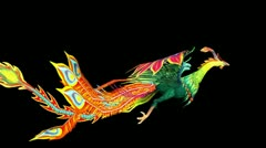 Flying Phoenix.bird,design,art,wing. - stock footage