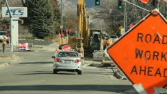 Road construction in the street 8 Stock Footage