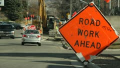 Road construction in the street 7 Stock Footage