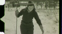 Stock Video Footage of Woman Cross Country Skiing Winter Snow Ski 1930s Vintage Film Home Movie 1480
