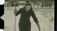Stock Video Footage of Cross Country Skiing Circa 1935 (Vintage Film Home Movie) 1480