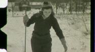 Woman Cross Country Skiing Winter Snow Ski 1930s Vintage Film Home Movie 1480 Stock Footage