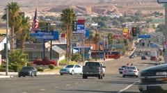 Barstow main street mid day long shot - stock footage