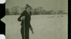 Stock Video Footage of Woman Cross Country Skiing Winter Snow Ski 1930s Vintage Film Home Movie 1481