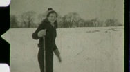 Woman Cross Country Skiing Winter Snow Ski 1930s Vintage Film Home Movie 1481 Stock Footage