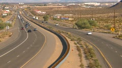 Traffic on I15 with billboards wide Stock Footage