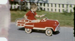 LITTLE BOY PLAYS IN PEDAL CAR 1960s Vintage Film Retro Amateur Home Movie 1478 Stock Footage