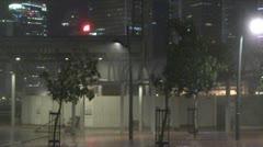 Stock Video Footage of Fierce Hurricane Winds Tear Through City