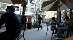 OUTDOOR DINING ON THE PLAZA Stock Footage