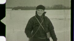 Man Cross Country Skiing Winter Snow Ski 1930s Vintage Film Home Movie 1483 Stock Footage