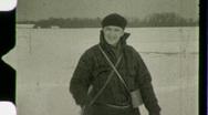 Stock Video Footage of Man Cross Country Skiing Winter Snow Ski 1930s Vintage Film Home Movie 1483