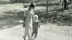 African American Black Nanny White Child 1930s Vintage Film Home Movie 1485 Stock Footage