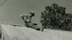 African American Black Man Carpenter Build House 1930s Vintage Home Movie 1487 Stock Footage