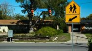 Timelapse of busy street with school crossing sign Stock Footage
