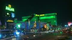 Las Vegas, night, MGM hotel and casino Stock Footage
