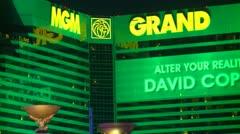 Las Vegas, night, MGM hotel and casino zoom Stock Footage