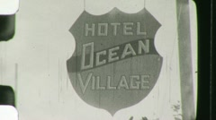 Motel Hotel Sign Vacancy Travel Tourism 1930s Vintage Film Home Movie 1489 Stock Footage