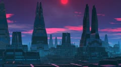 The red moon. A fantastic city. Stock Footage
