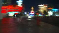 POV drunk stumbling down the street at night in Vegas - stock footage