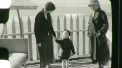 Family Group by the Sea Circa 1935 (Vintage Film Home Movie) 1490 Stock Footage