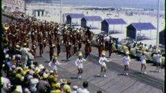 Marching Band Atlantic City Boardwalk Circa 1965 (Vintage Film Home Movie) 1495 - stock footage