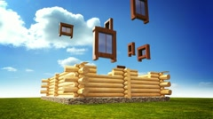 Animated log house - stock footage