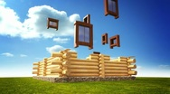 Stock Video Footage of Animated log house
