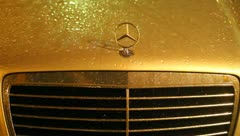 Front Grill of Mercedes Benz With Raindrops Stock Video Stock Footage