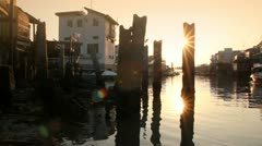 Beautiful sunset over Tai O fishing village in Hong Kong - stock footage