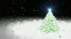 Christmas fur-tree and falling snow Stock Footage