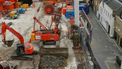 Bond Street Building Works on London Crossrail Train Link Stock Footage