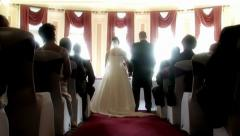 Bride & Groom - Pan up from ground - stock footage