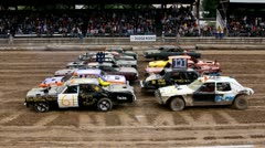 Demolition derby 27 start - stock footage