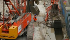 Construction digging for Crossrail London - stock footage