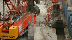 Construction digging for Crossrail London UK Stock Footage