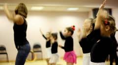 Girls on dance lesson with ballet teacher Zharova Svetlana Stock Footage