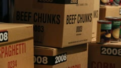 Boxes and cans of food storage - stock footage