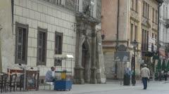 People walking on street in Old Town, Krakow, Poland. Stock Footage