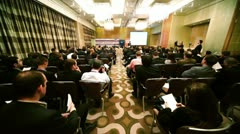 Many people sit on conference - Leasing in Russia Stock Footage