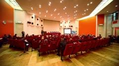 People applaud speech on X Global Strategic Forum - stock footage