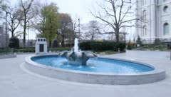 Wishing Well Fountain Flowing water 2 Stock Footage