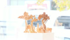 Wood manger scene statues (2) Stock Footage