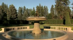 Formal garden fountain Stock Footage