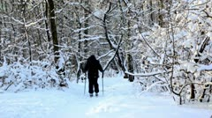 Boy skiing in warm sport clothes at forest covered by snow Stock Footage