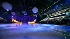 Many people in sport complex wait for begining of ice show Stock Footage