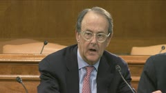 (2 of 2) former Clinton staffer Erskine Bowles on government debt Stock Footage